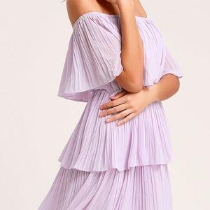 Lavender Off-the-Shoulder Ruffle Midi Dress Size M